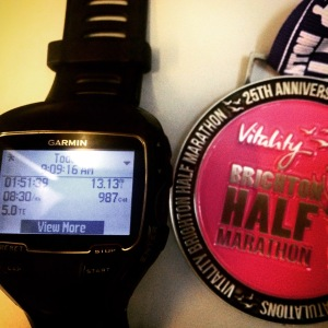 Brighton Half Marathon 2015 and Garmin 910XT