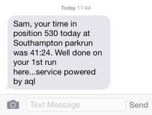 parkrun text result