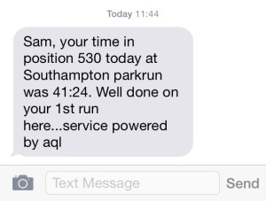 parkrun text result